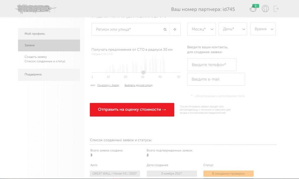 создание прототипа админпанели/аккаунта сервиса