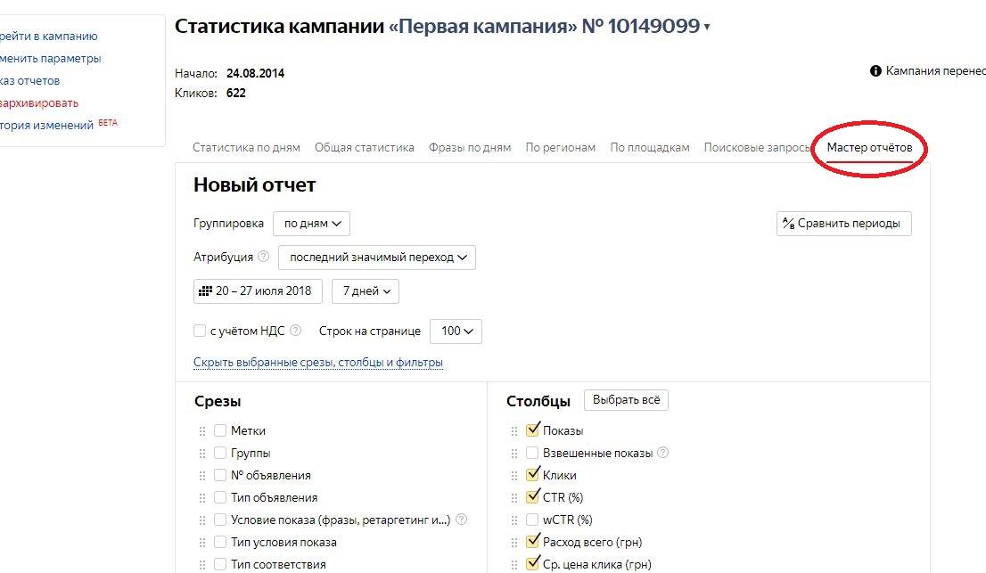 мастер отчетов в Яндекс Директ