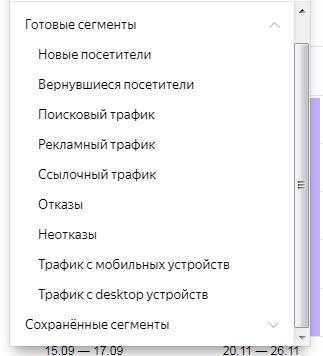 готовые сегменты в метрике